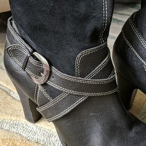 Relativity Shoes - Leather/Suede Tall Boot With Buckle/ White Stitch